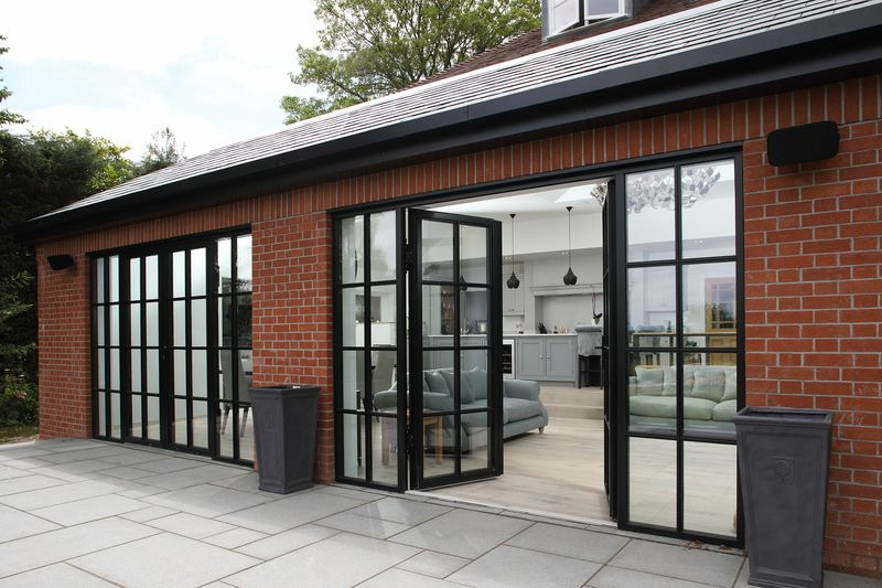 exterior aluminium glass partition with door
